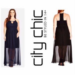 City Chic Black Sweet Affair Maxi Dress. NWT